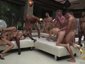 Complete botch Linda Leclair and her grotesque GF take part in crazy gangbang