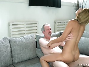 Pigtailed 18 year old rides an old mans dick