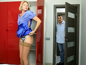Blond cougar Diana Gold is having sex fun with young dude humming nextdoor