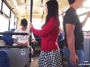 Several dudes fuck yummy Japanese student Aimi Nagano in the bus
