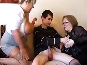 Old fat slutty granny in pantyhoes fucked hard in triple