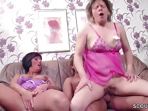 German Step-Mature and Aunt Seduce 18 Lifetime Old Boy to Apologize Reverence her