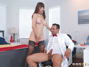 Office doggy fuck with Lexi Luna acquiring cum on her huge tits