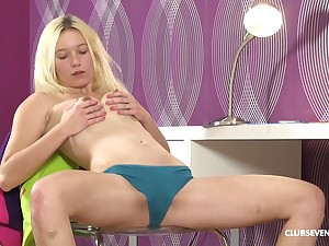 Blonde sweetie Sindy Rako plays with her pussy after a long time she moans