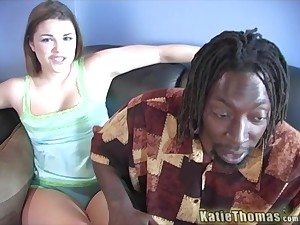 Katie Thomas enjoys interracial fuck with alluring black dude