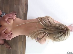 Teen Bella Rose meets up with pick agent for porn audition