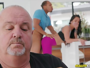 Teen gets fucked by a black dude with her pater around