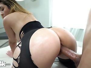 Babe in crothless yoga pants Serena Skye gets oiled thither and fucked hard