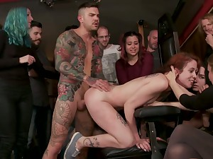 Complete whore with tatts Lilyan Red is fucked coupled with disgraced in public