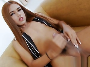Nasty shemale masturbates her hard learn of