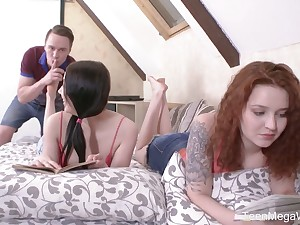 Fresh demoiselle Sheylley Bliss is poked doggy during wild MFF threesome