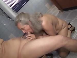 Granny Alize fuck grandson in bathroom