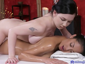 Lesbian Davon gets a body to body rub down that ends roughly with strong orgasm.