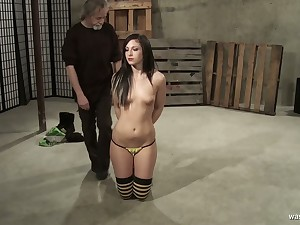 Brunette spoil Jade Thomas gets her pussy punished by one kinky old fart