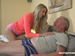 Young blond nympho Diane Chrystall is eager for old wrinkled dick of her new lover