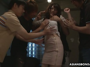 Several students fuck Japanese coed Kanako Iioka and fill her kidnap in the matter of cum