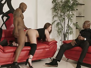 Two huge black dicks penetrate anus with the addition of pussy of bootyful white girl Maddy O'reilly