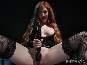 Nasty mistress Lauren Phillips air force her slave to eat his own cum