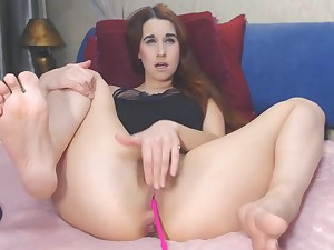 Sexy girl rubs pussy while showing off limbs to camera