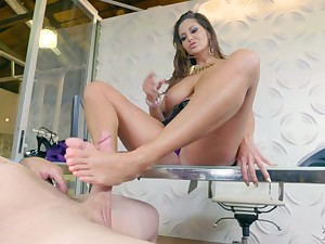 MILF with big breasts Ava Addams wanna ride dick after giving man a footjob