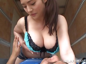 Shorts-clad Asian babe with awesome juggs enjoying a hardcore fuck