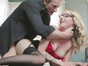 Blonde journo Karla Kush in lingerie loves to view with horror fucked foreigner behind
