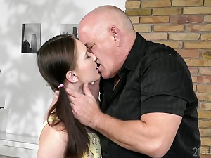 Pigtailed Ukrainian girl Sasha Haven gives older man a ride on top