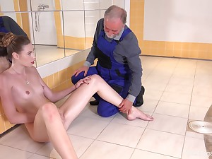 Babe greater than fire goes down greater than man's old cock in perfect XXX porn