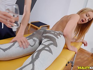 Skinny blonde Amaris oiled beside before sex and moans with pleasure