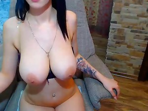 busty girl on webcam - brunette down unique big naturals