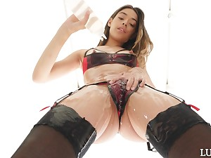 Small tits Harony Wonder teases and gets fucked by a ache dick