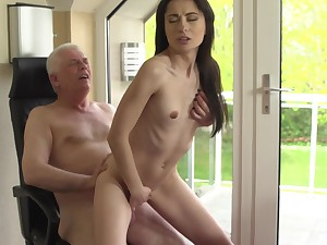 Dispirited young babe ends up getting laid forth her grandpa