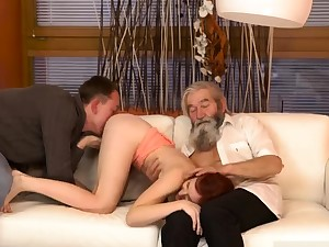 Begging daddy and mature brunette Unexpected experience